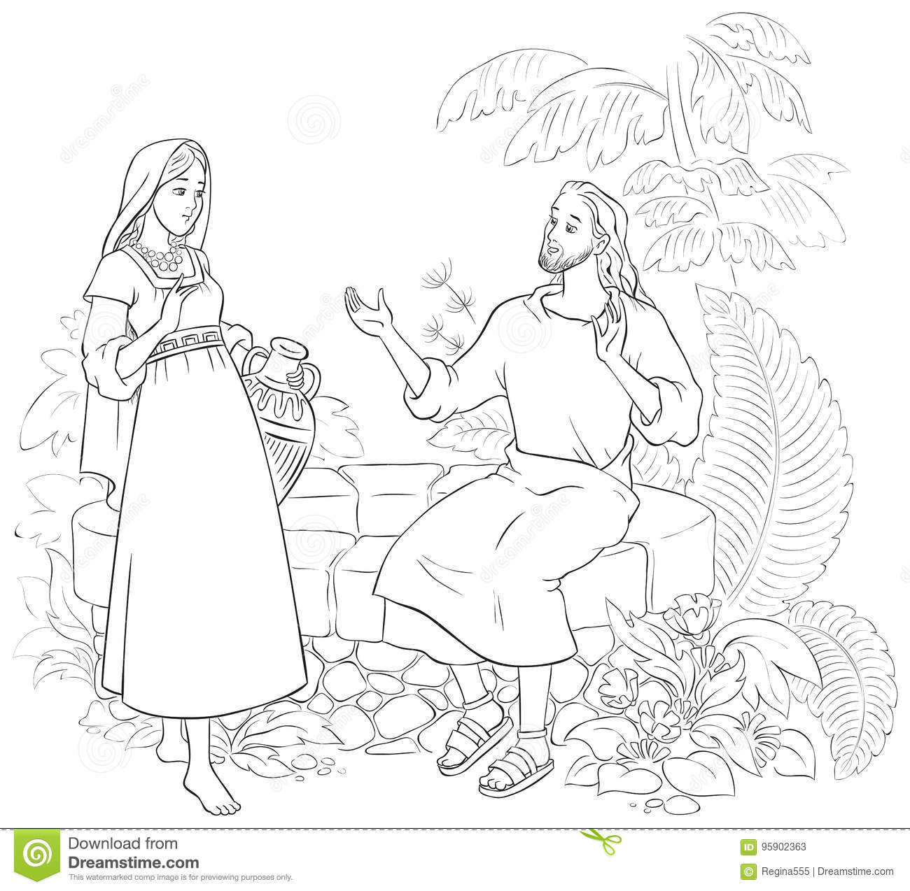 Jesus Talks With Samaritan Woman Coloring Pages Coloring Pages