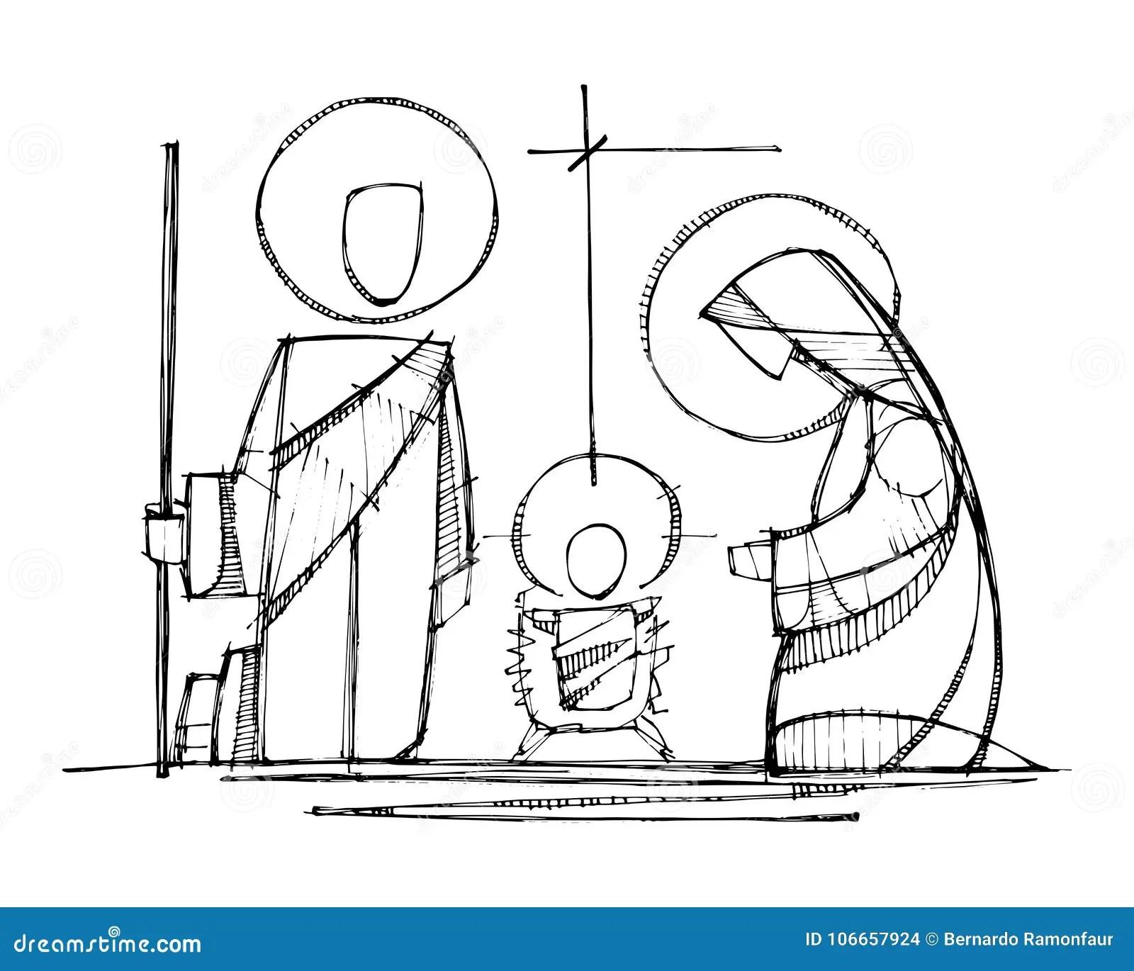 Jesus Virgin Mary And Saint Joseph At Nativity Stock