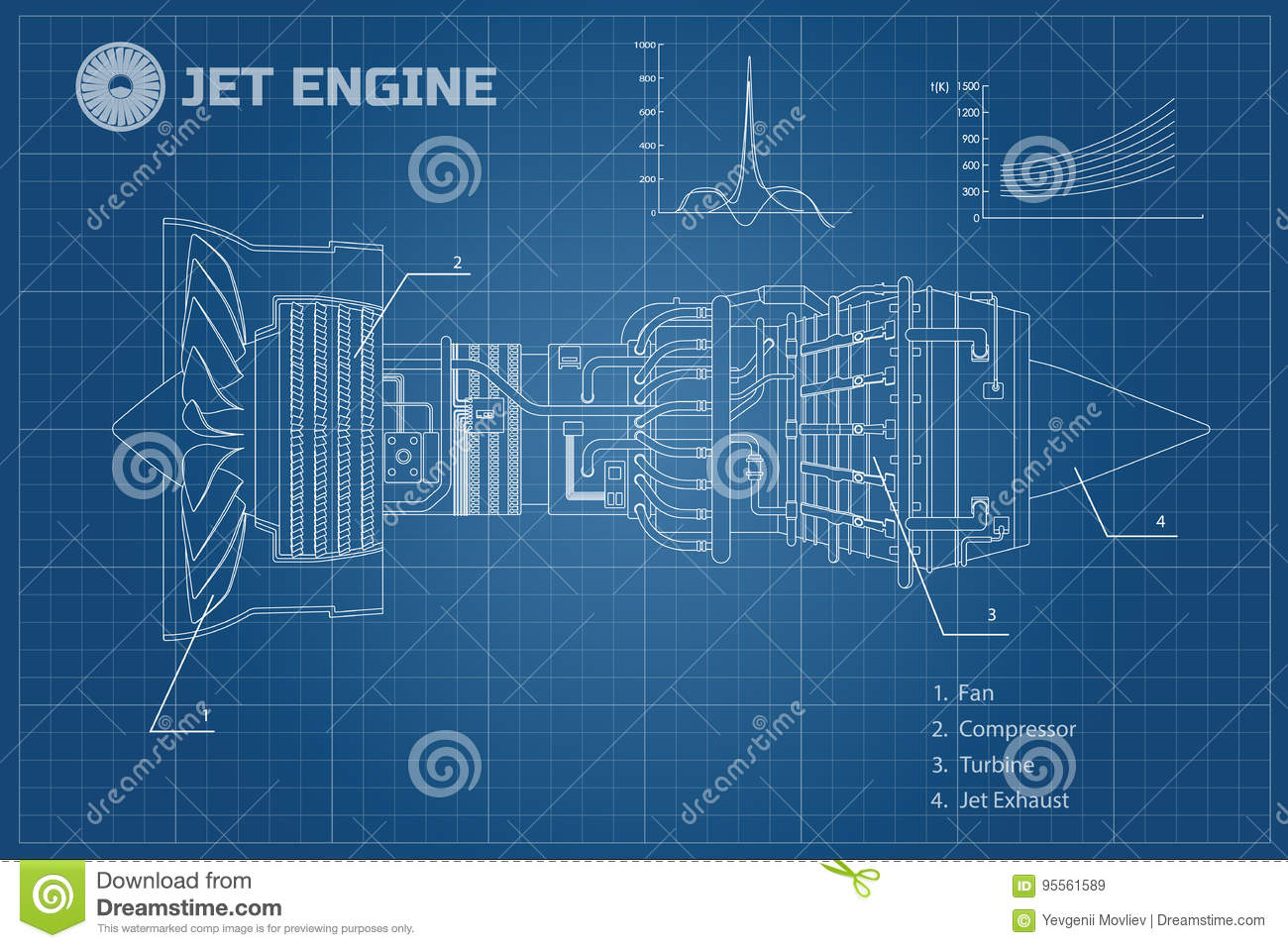 hight resolution of jet engine in a outline style industrial vector blueprint part of the aircraft