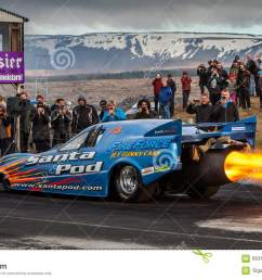 engine flames from the fireforce 3 jet funny car at drag racing event in iceland 2015  [ 1300 x 821 Pixel ]