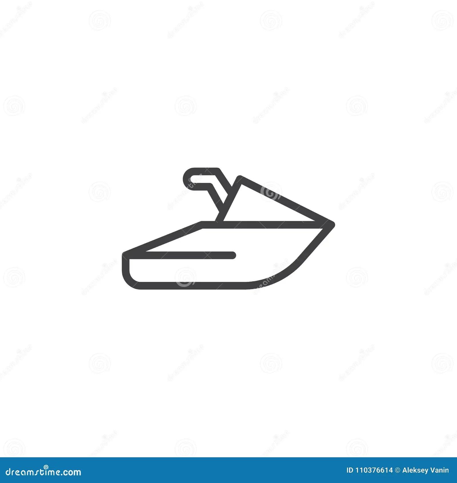 Jet ski outline icon stock vector. Illustration of sport