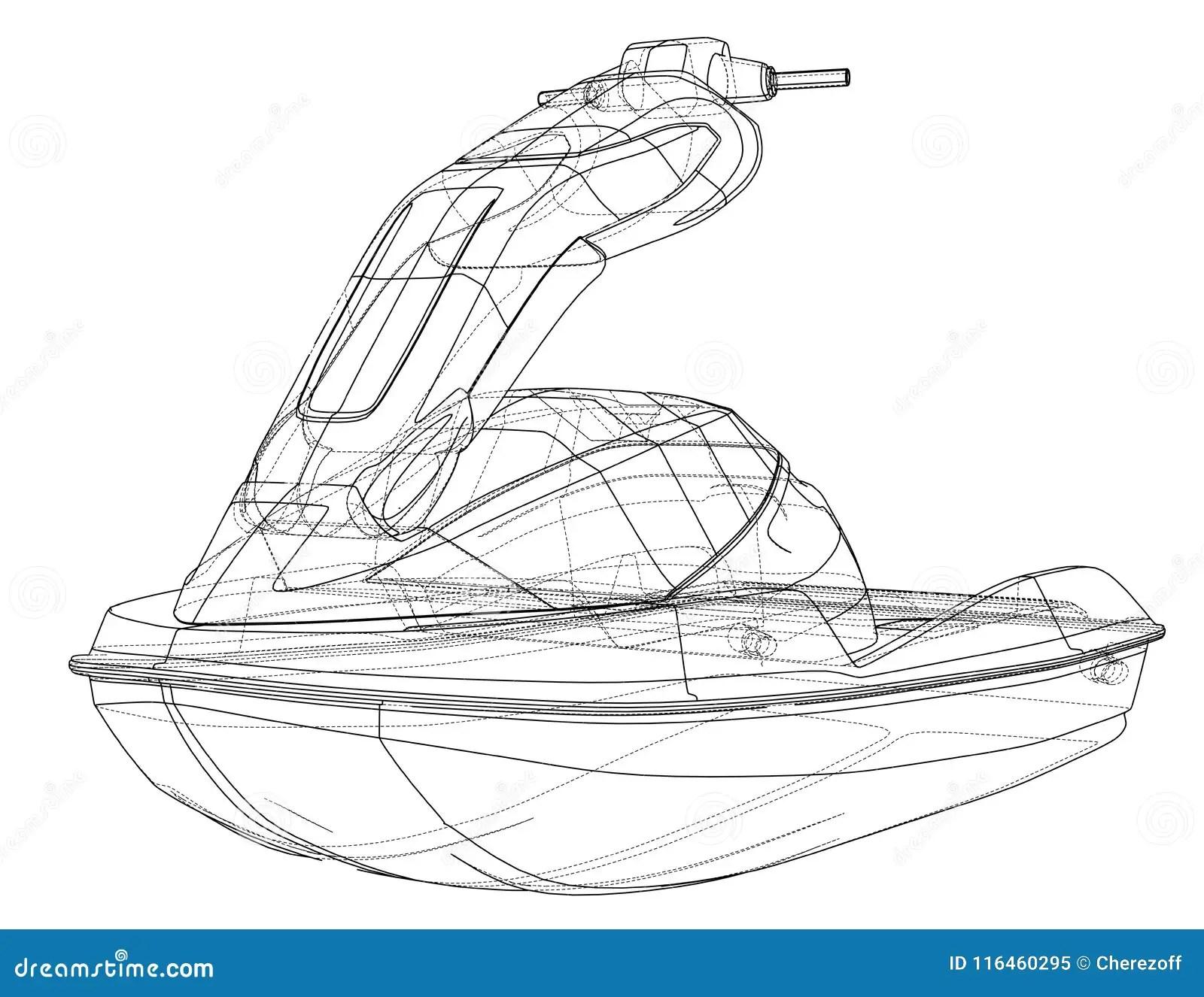 Jet ski sketch. Vector stock vector. Illustration of