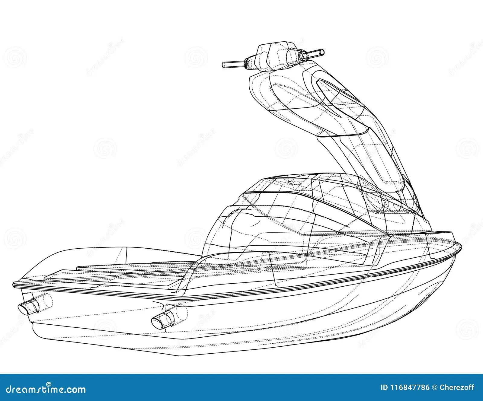 Jet Ski Sketch Stock Illustrations