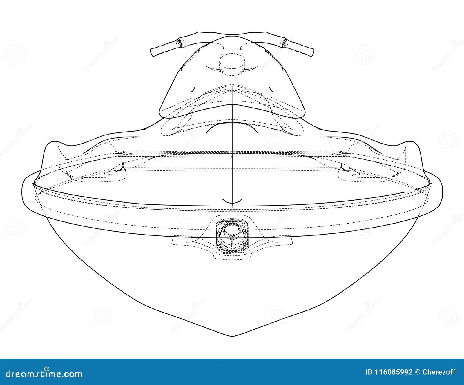 Jet ski sketch. Vector stock vector. Illustration of draw