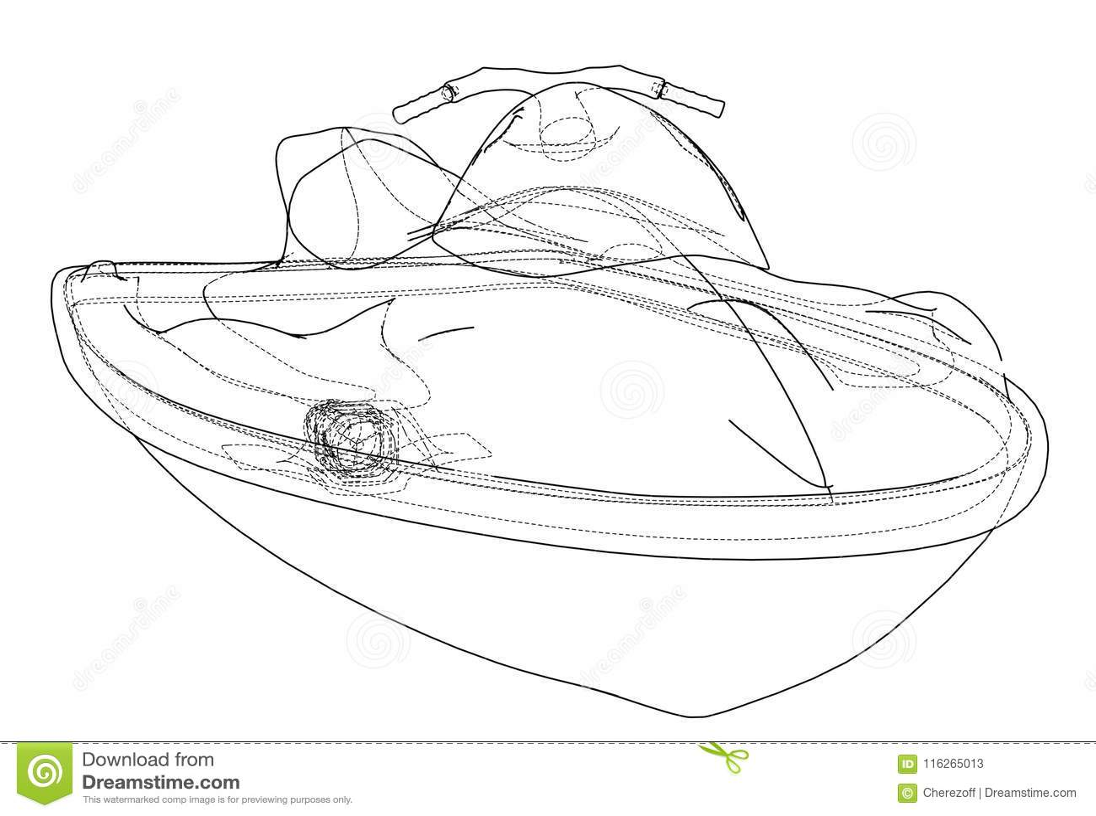 Jet ski sketch. Vector stock vector. Illustration of sport