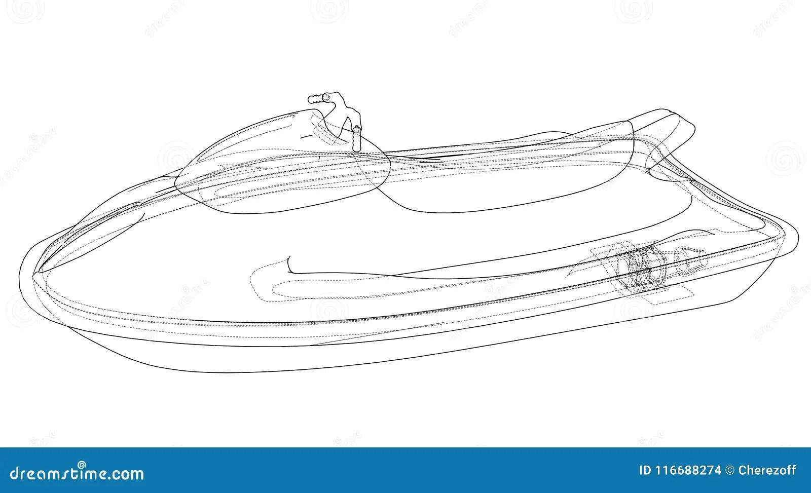 Jet ski sketch. Vector stock vector. Illustration of bike