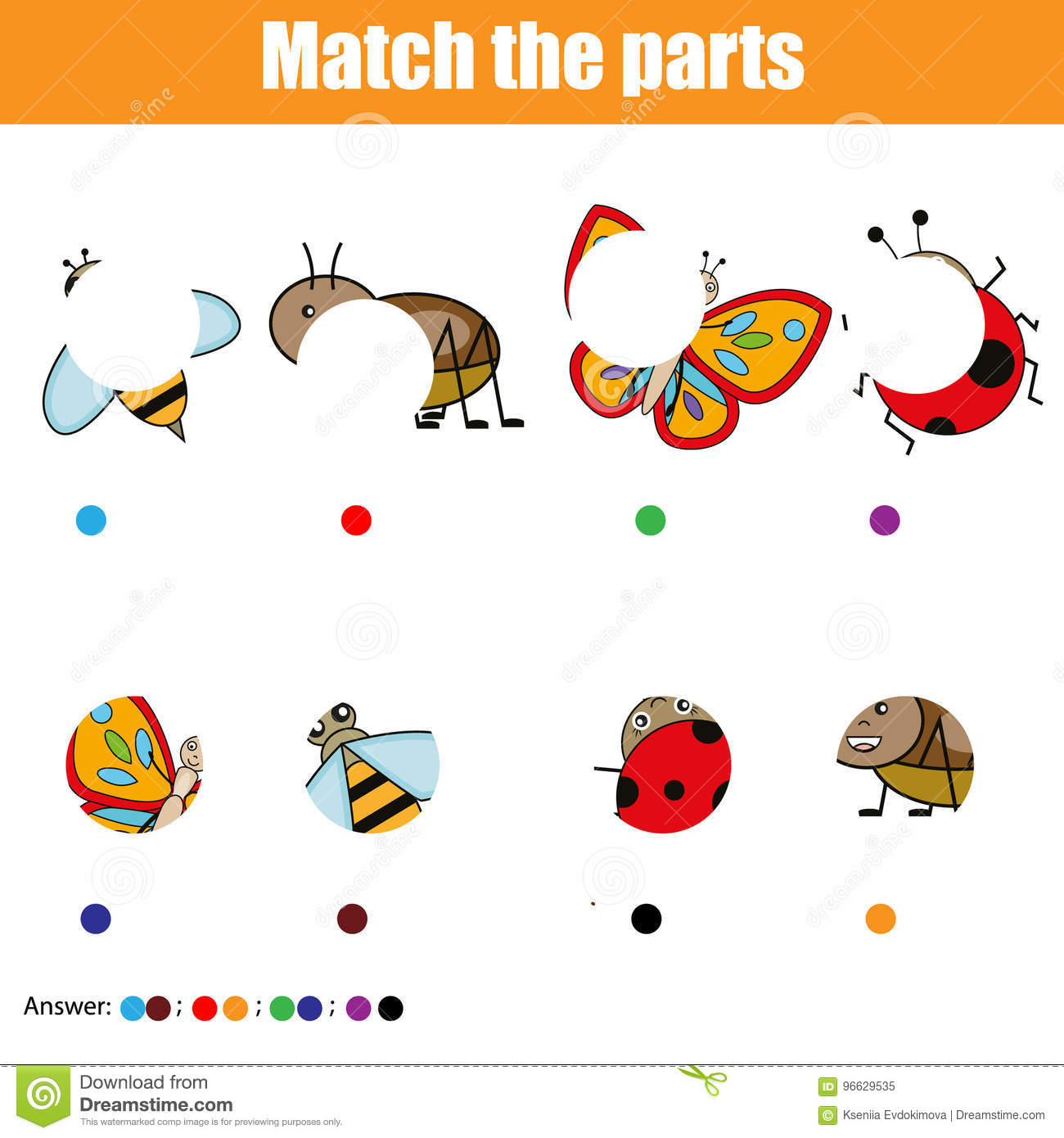 Jeu Educatif Assorti D Enfants Badine L Activite Pieces D Insectes De Match Trouvez Le Puzzle