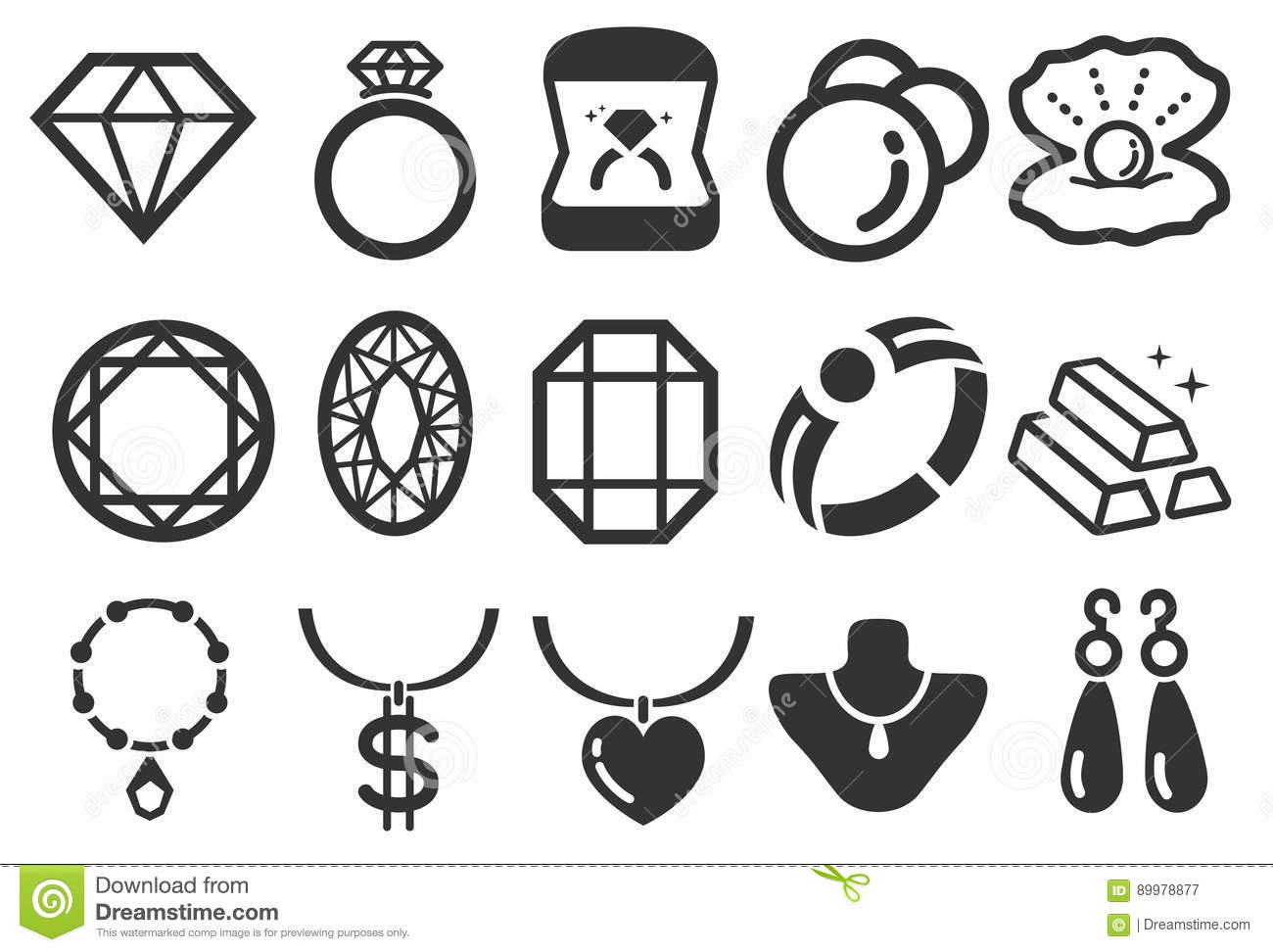 Jewelry Icons Stock Vector Illustration Of Opal Jewelry