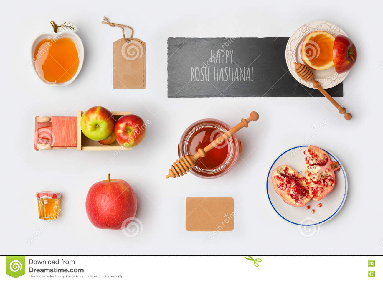 Jewish Holiday Rosh Hashana Mock Up Template With Honey Jar Apples And Pomegranate View From