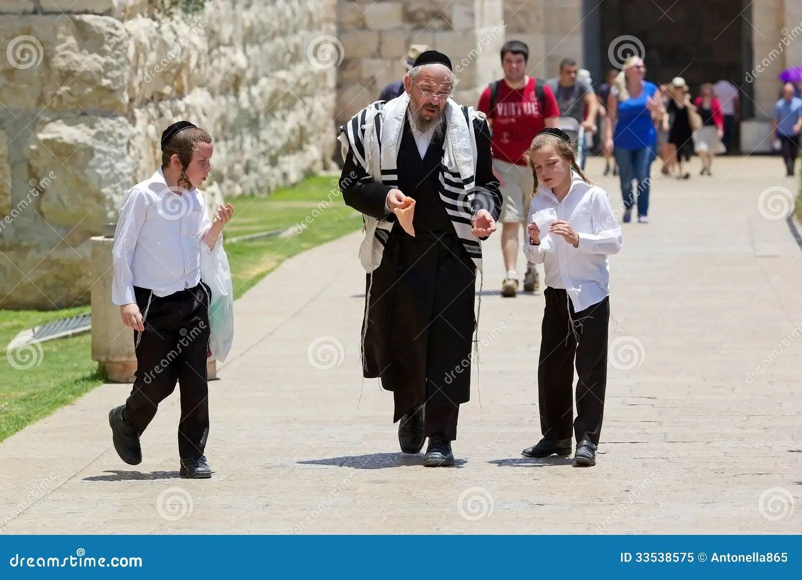 Jewish Orthodox Man And Children Editorial Image Image