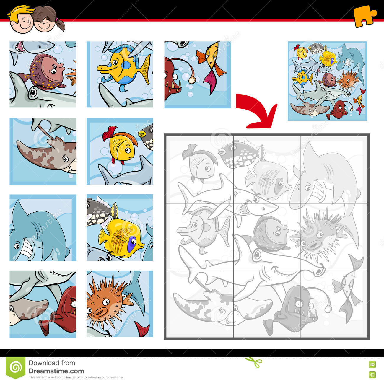 Jigsaw Puzzles With Fish Stock Vector Illustration Of Template
