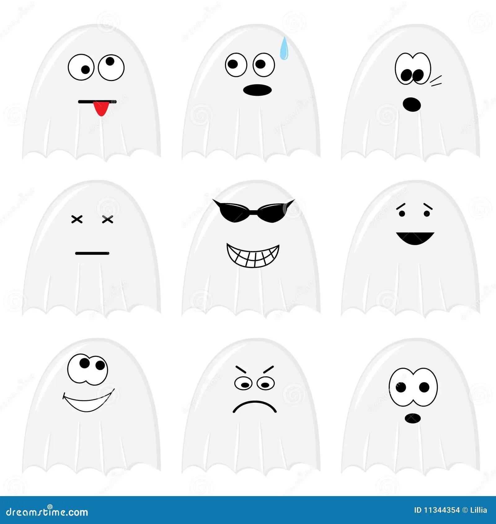 Jogo De Nove Fantasmas Dos Desenhos Animados Ilustração do