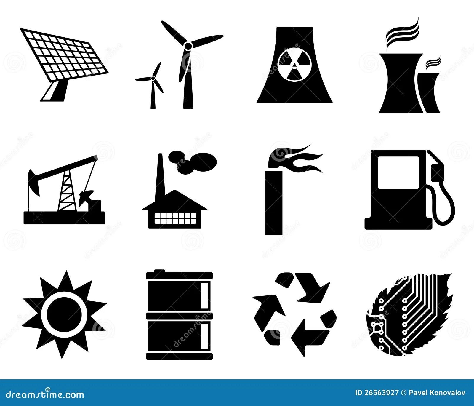 Jogo Do Icone Da Eletricidade Da Potencia E Da Energia