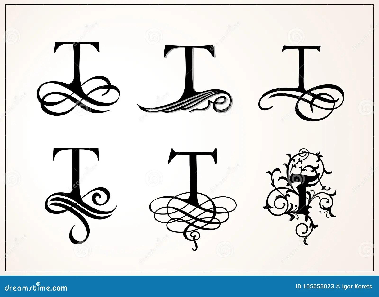 Jogo Do Vintage Letra Principal T Para Monogramas E