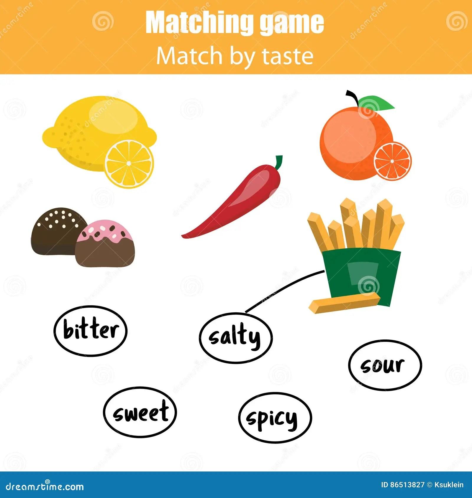 Jogo Educacional De Harmonizacao Das Criancas Alimento Do Fosforo Pelo Gosto Ilustracao Do