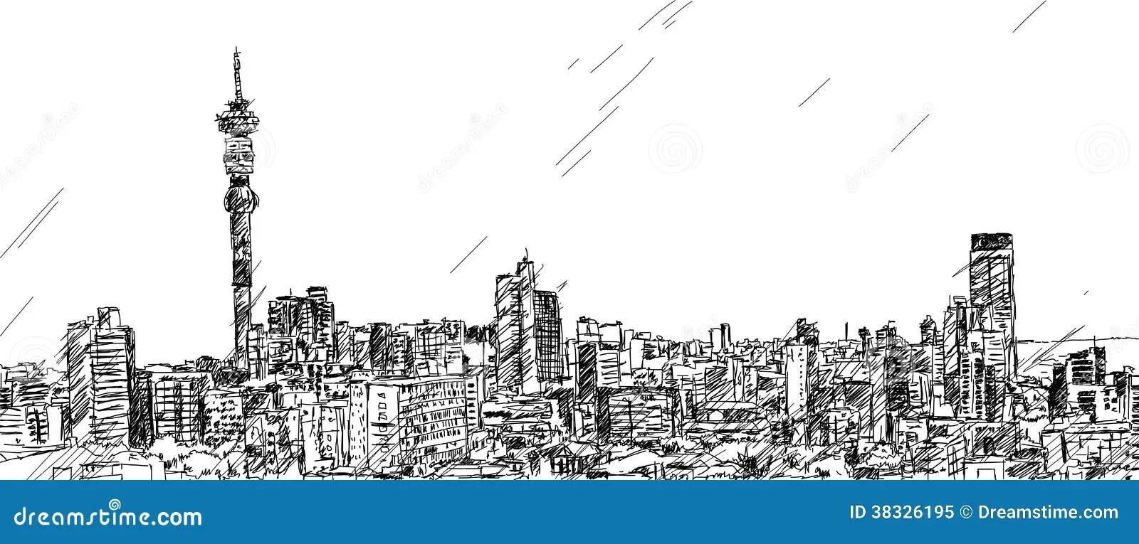 Johannesburg Skyline stock vector. Illustration of white
