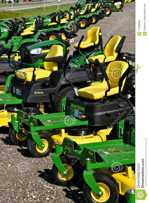 small resolution of hawley minnesota august 22 2017 a row of green and yellow new riding lawn mower tractors are products of john deere co an american corporation that