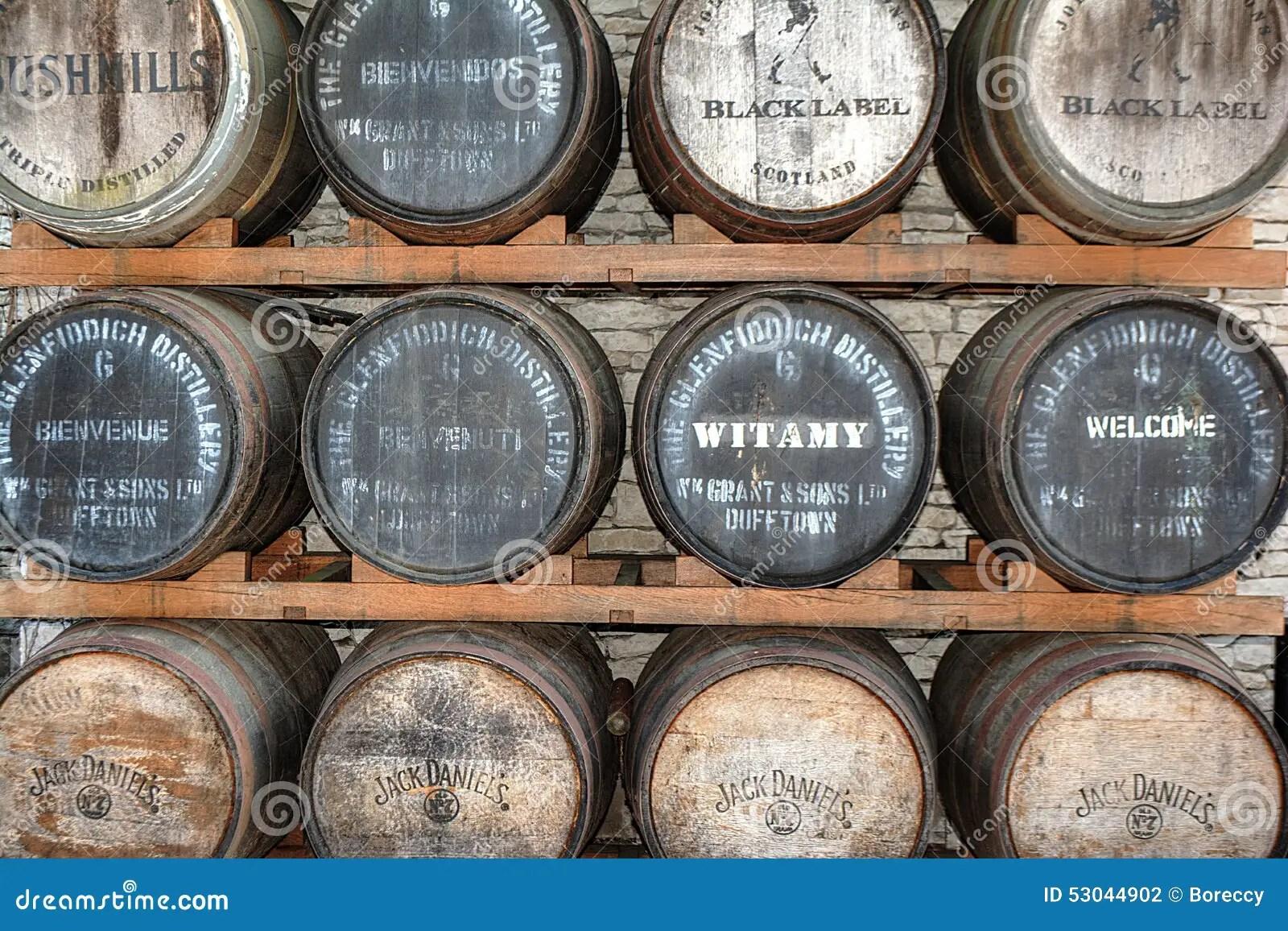 Johnnie Walker Jack Daniels Bushmills Whisky Barrel Stack
