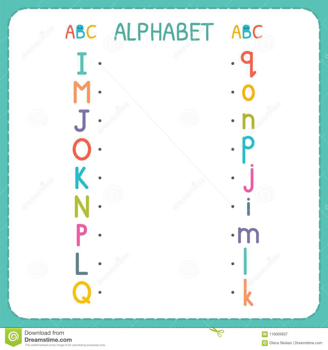 Join Each Capital Letter With The Lowercase Letter From I To Q Worksheet For Kindergarten And