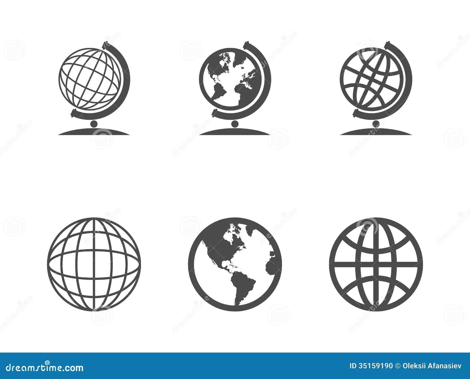 Jordklotsymboler Vektor Illustrationer Illustration Av Anslutning