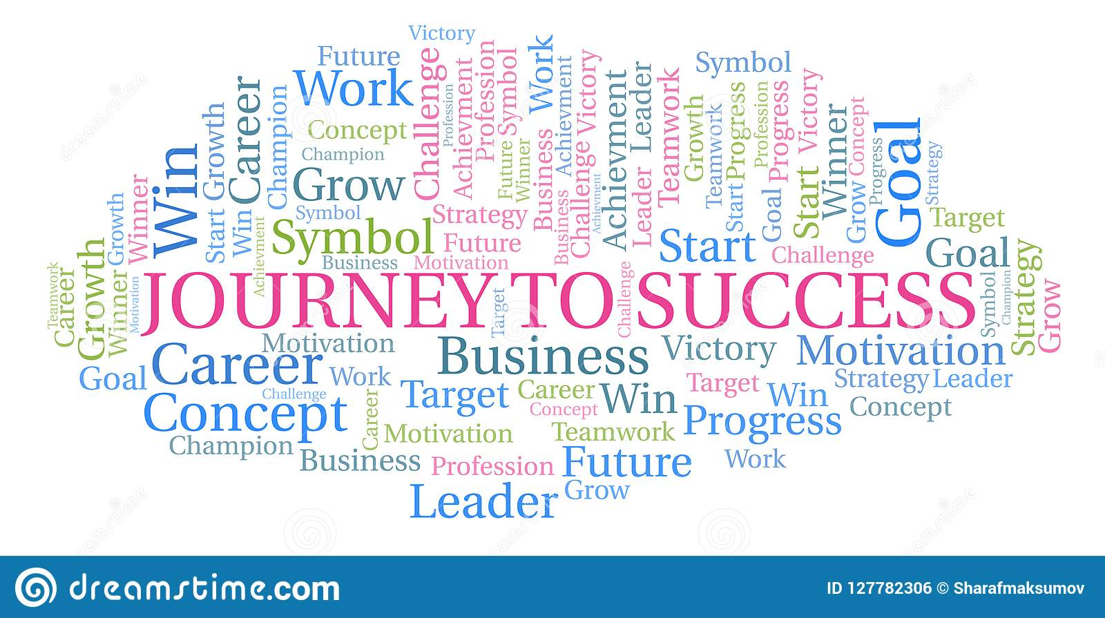 Journey To Success Word Cloud Stock Illustration