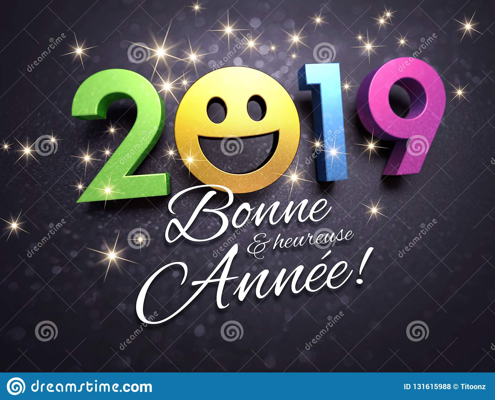 New Year French Greeting Card For Smiling Stock