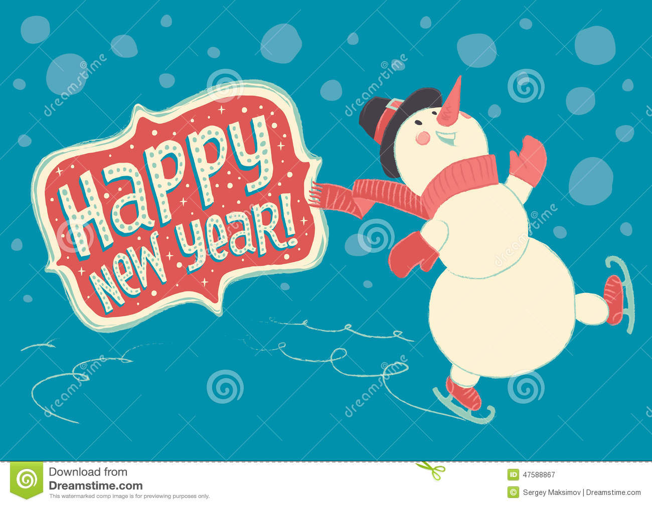 Cute Snowman Christmas Wallpaper Joyful Snowman Skating On Ice And Wishes Happy New Year