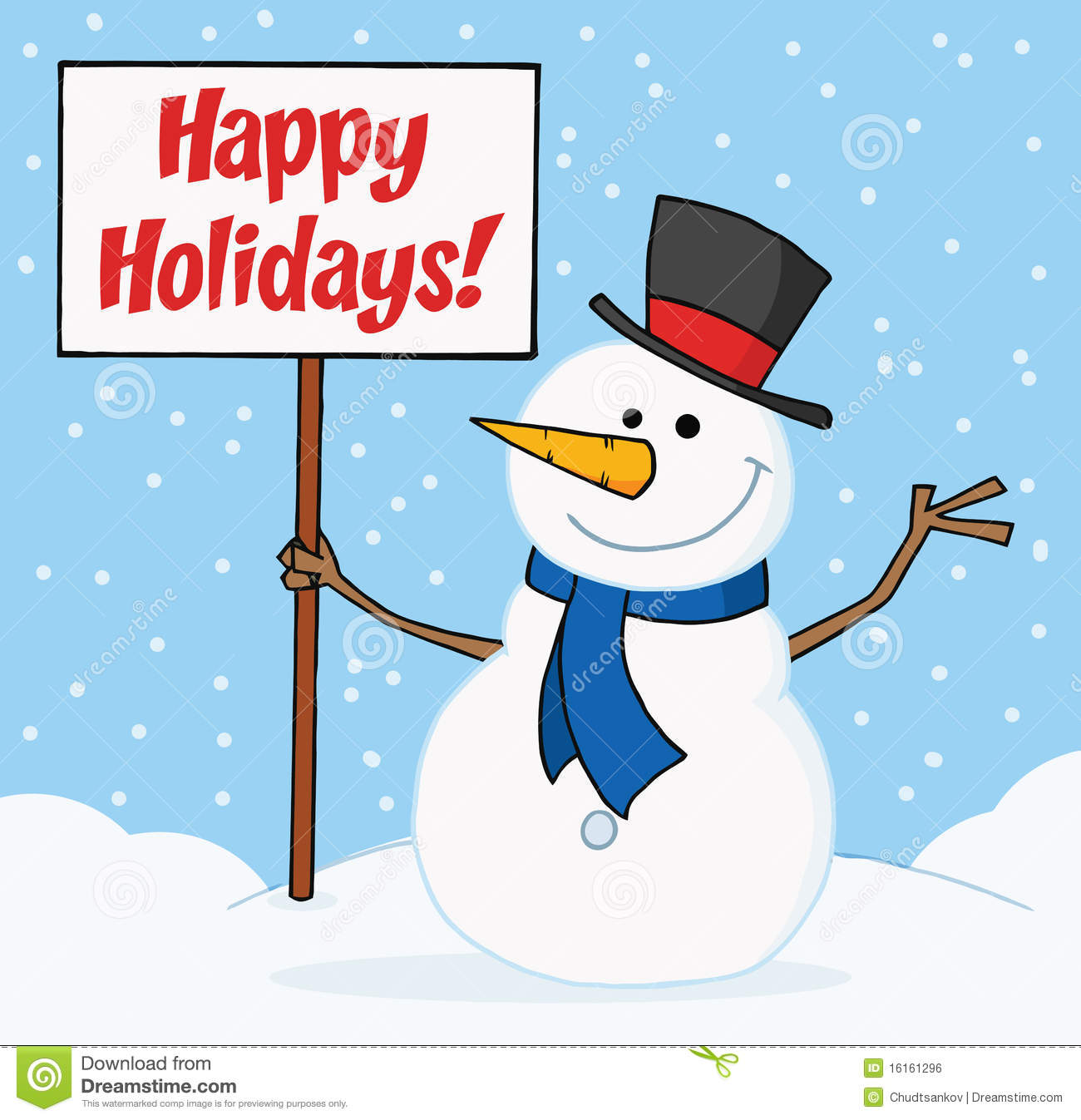 Joyous Snowman Holding A Blank Sign On A Hill Royalty Free