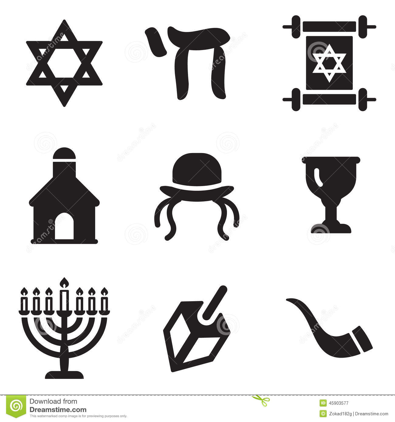 Judaism Icons Stock Vector Illustration Of Shofar Shape