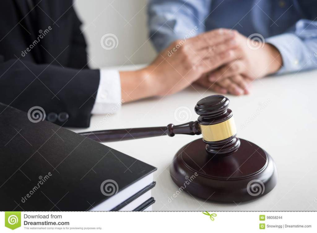 Judge Gavel With Lawyers Advice Legal At Law Firm In Background Stock Photo Image Of