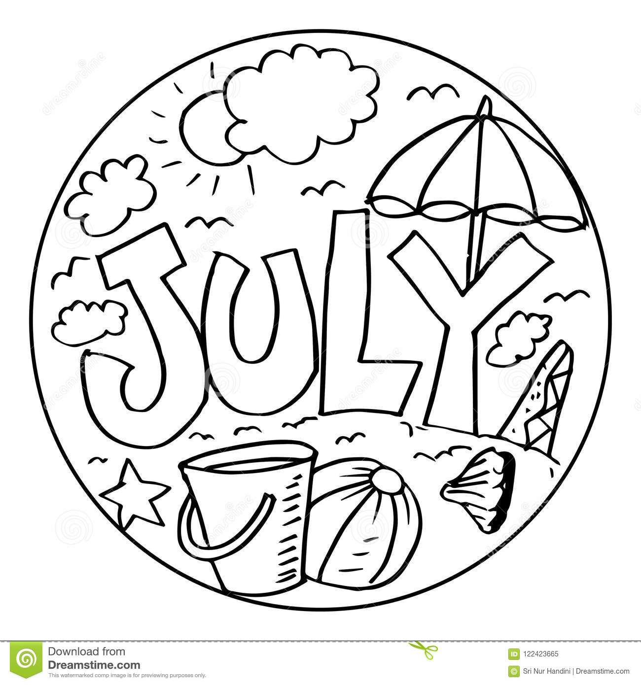 July Coloring Pages For Kids Stock Illustration