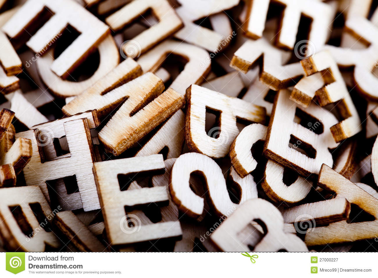 Jumbled Wooden Letters Close Up Royalty Free Stock Photography