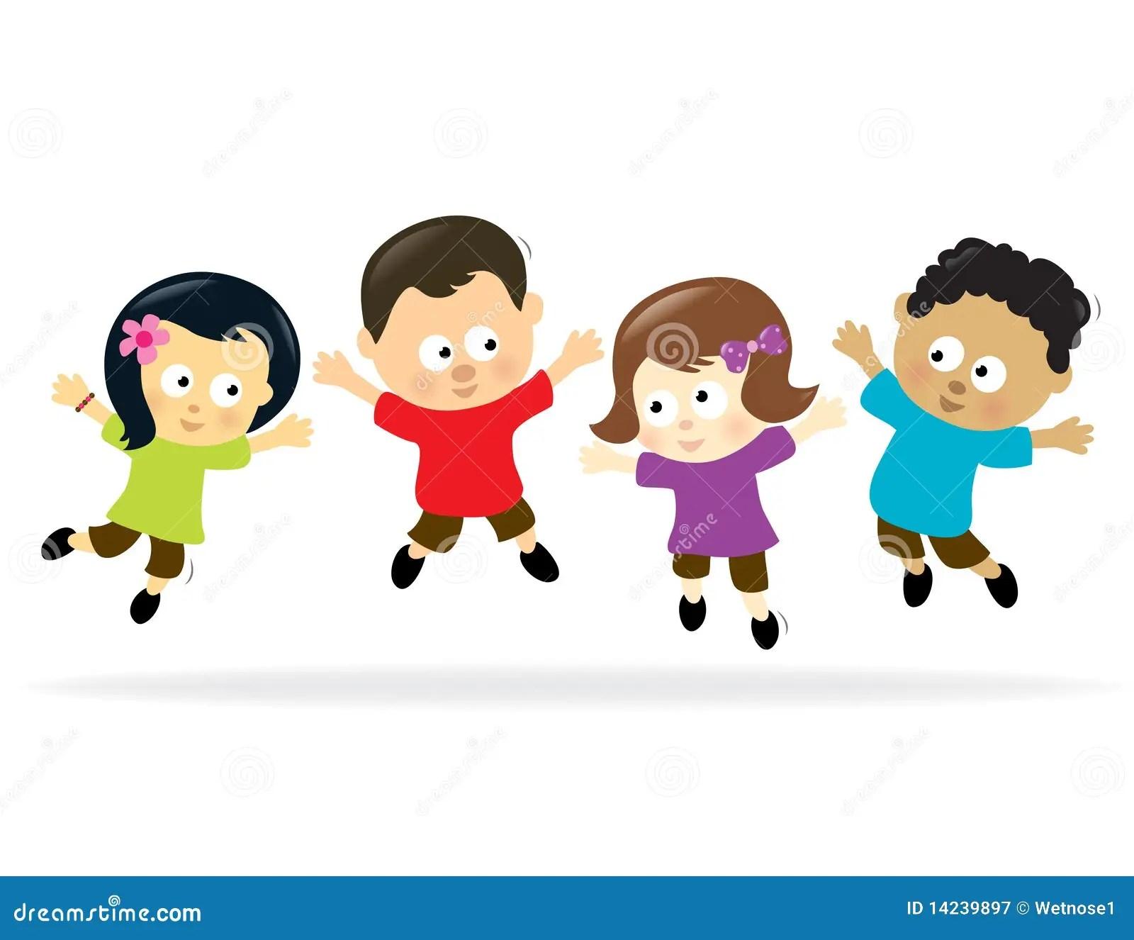 Jumping Kids 2 Stock Vector Illustration Of American
