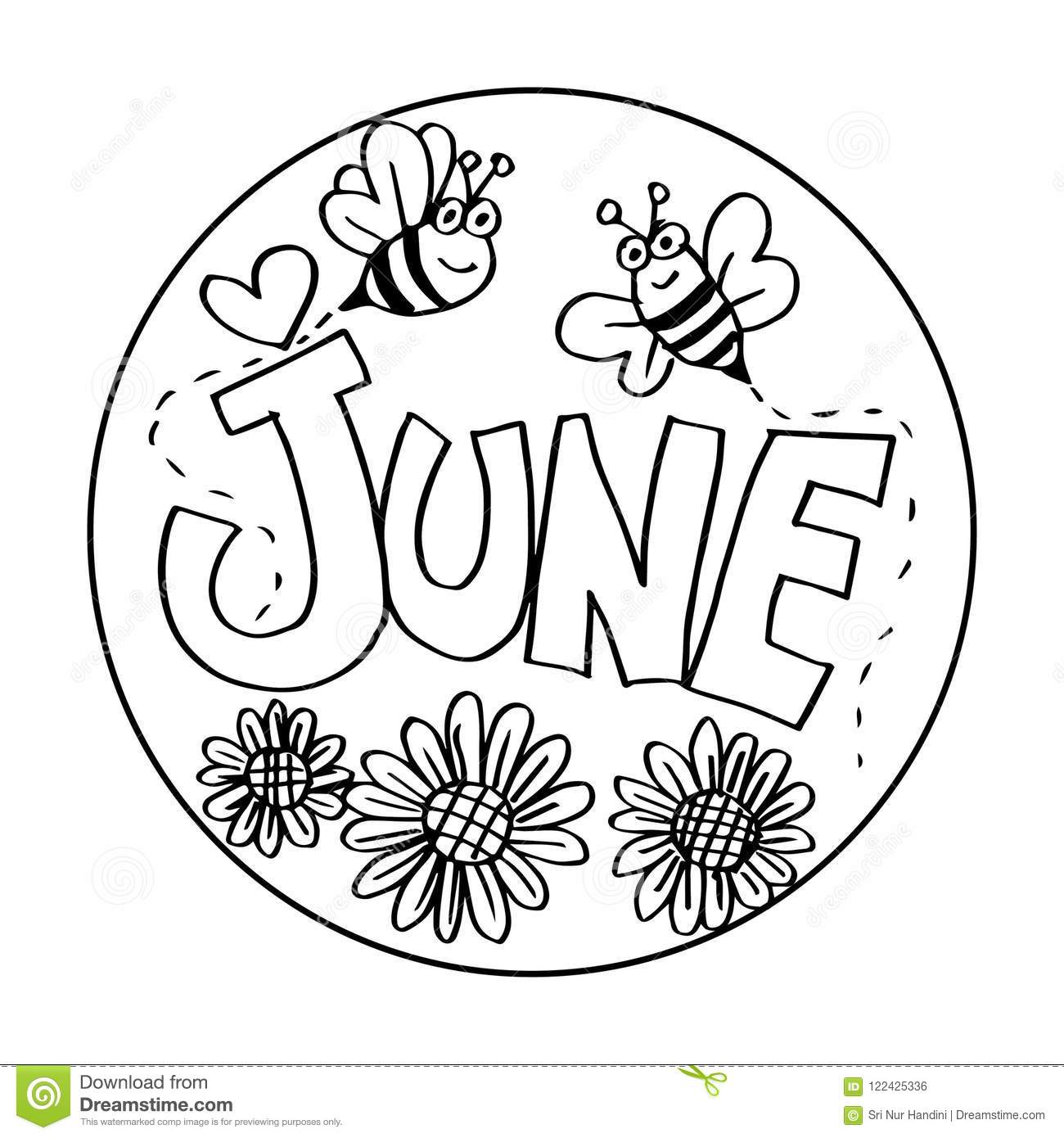 June Coloring Pages For Kids Stock Illustration