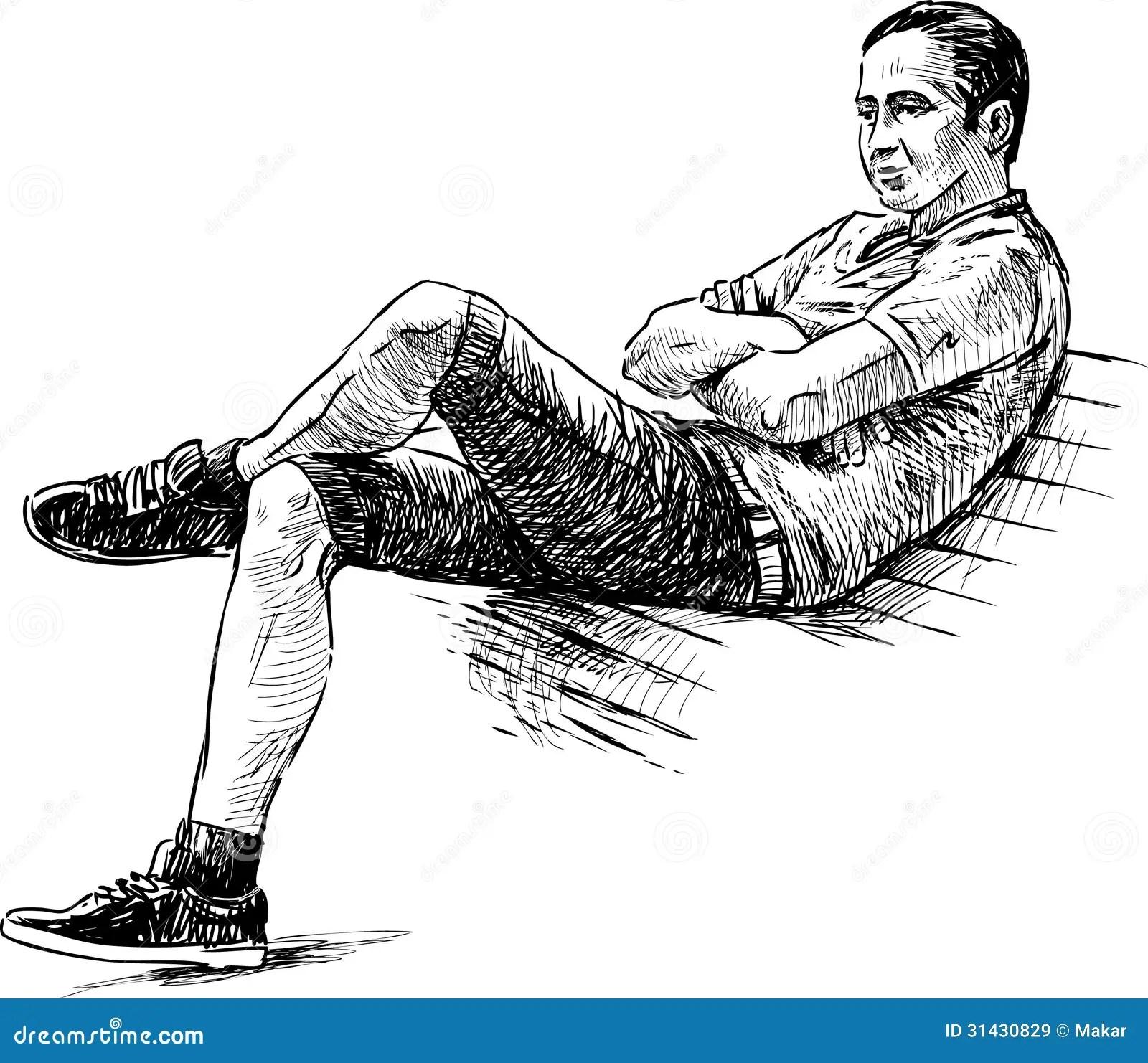 Junger Mann Auf Einer Bank Vektor Abbildung Illustration