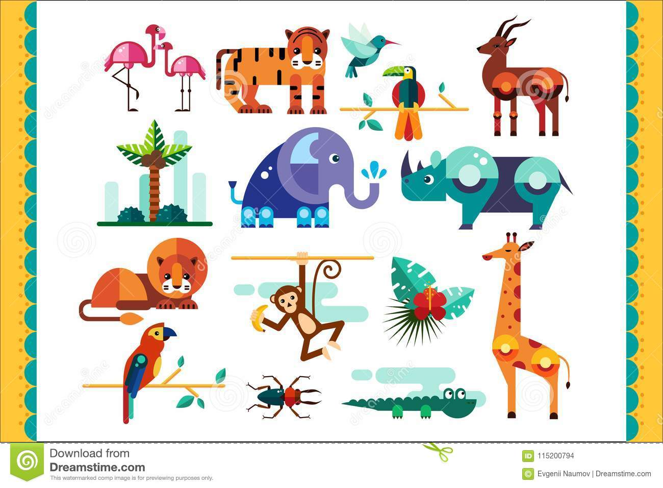 Jungle Animals Birds And Plants Set Summer Tropical