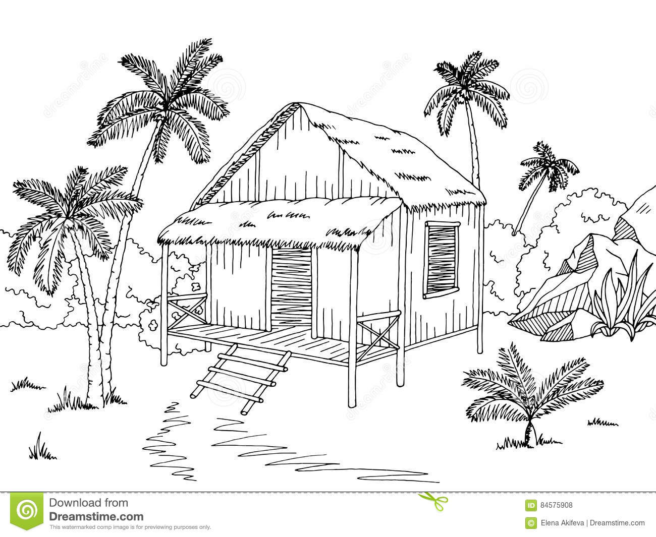 Jungle Hut House Graphic Black White Sketch Illustration