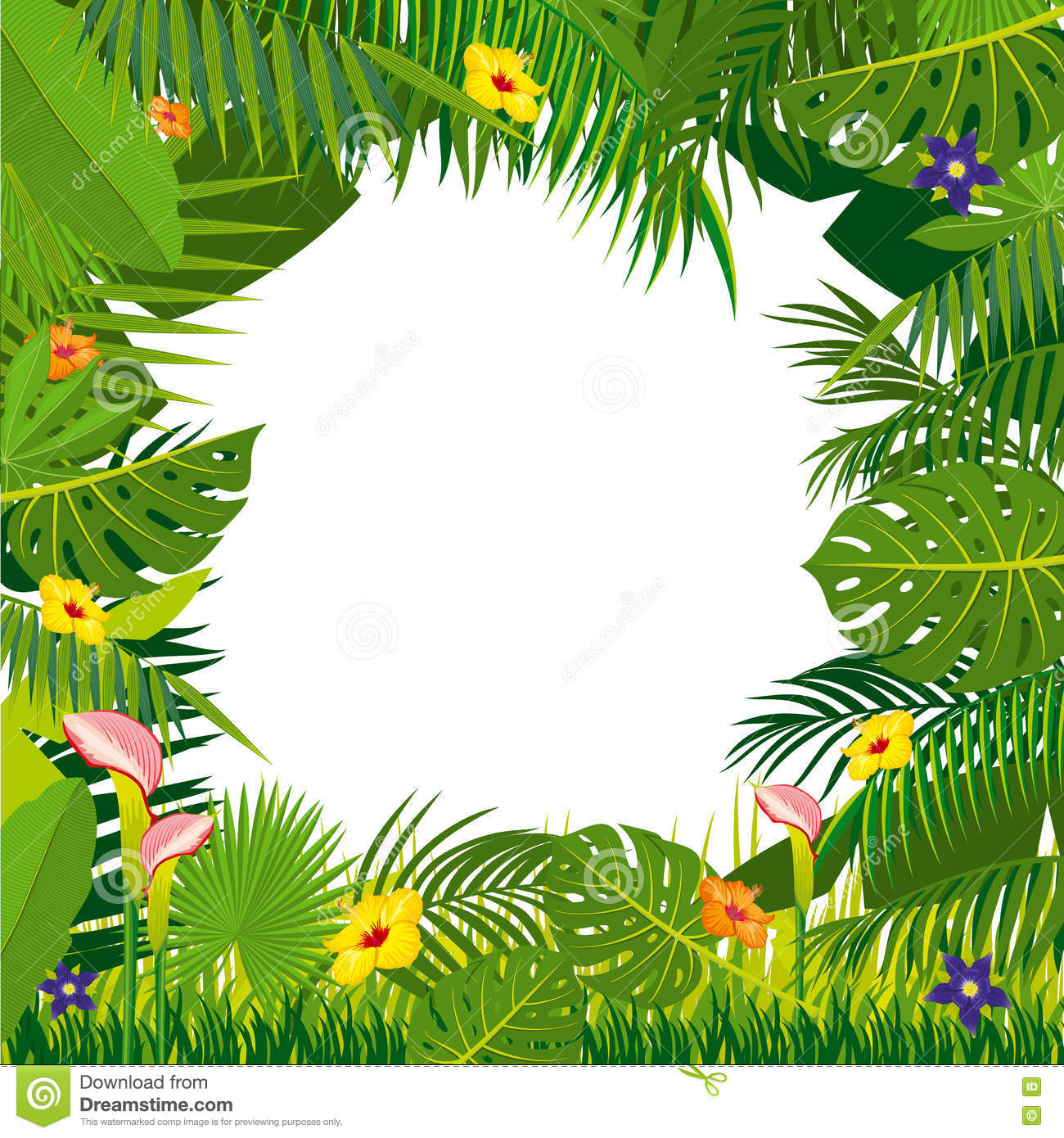 Jungle Vector Background With Palm Tree Leaves Stock