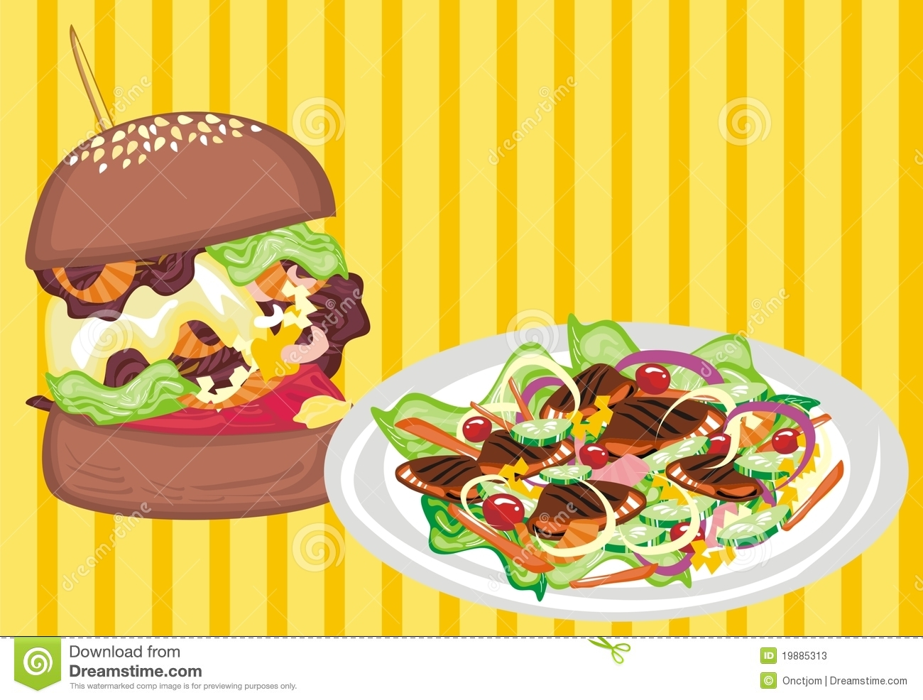 Junk Food Vs Healthy Food Stock Vector Illustration Of Illustration
