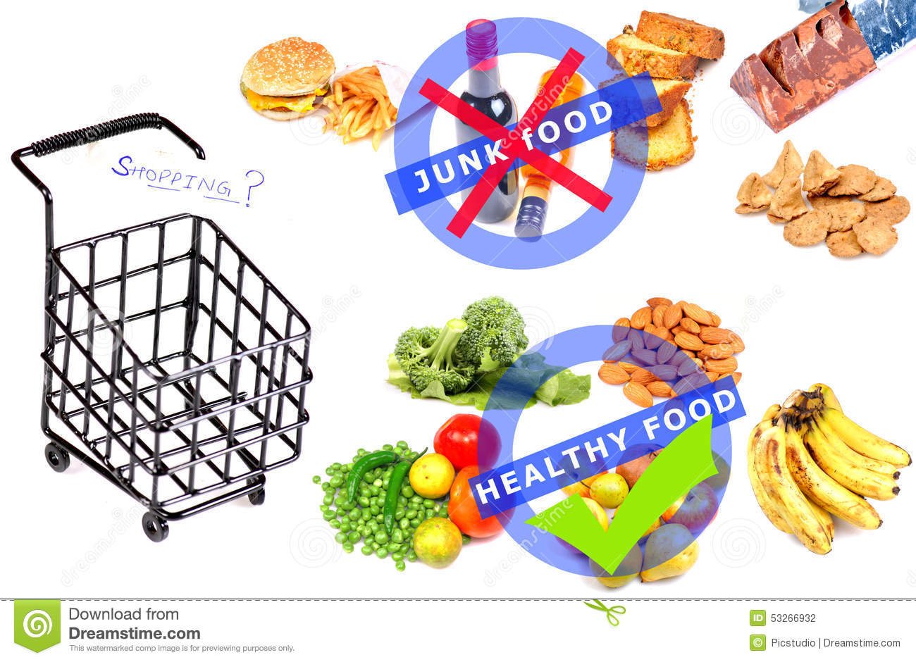 Junk Vs Healthy Food Stock Photo Image Of Shopping Vegetables
