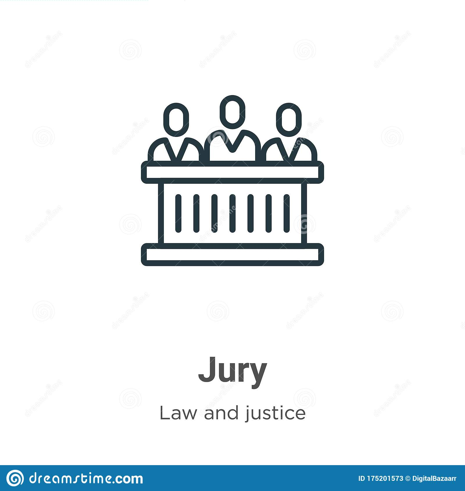 Jury Outline Vector Icon Thin Line Black Jury Icon Flat