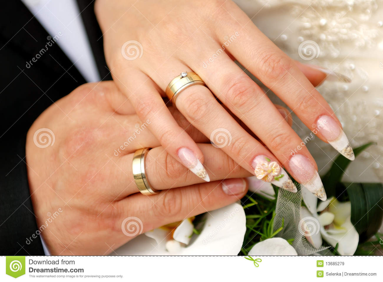 Just Married Couple Hands Stock Image Image Of Bouquet