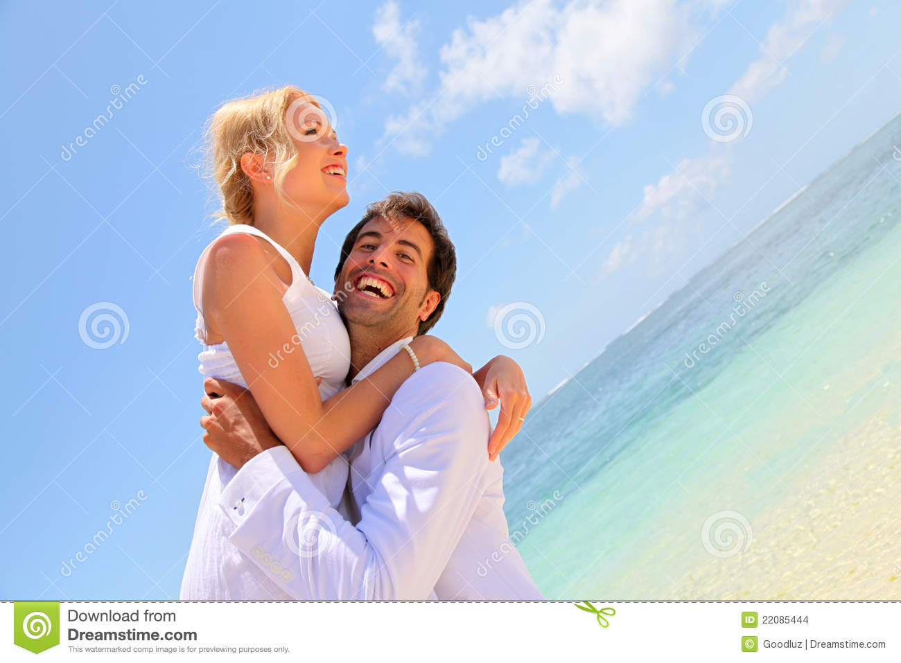 Just Married Couple Having Fun Stock Photo