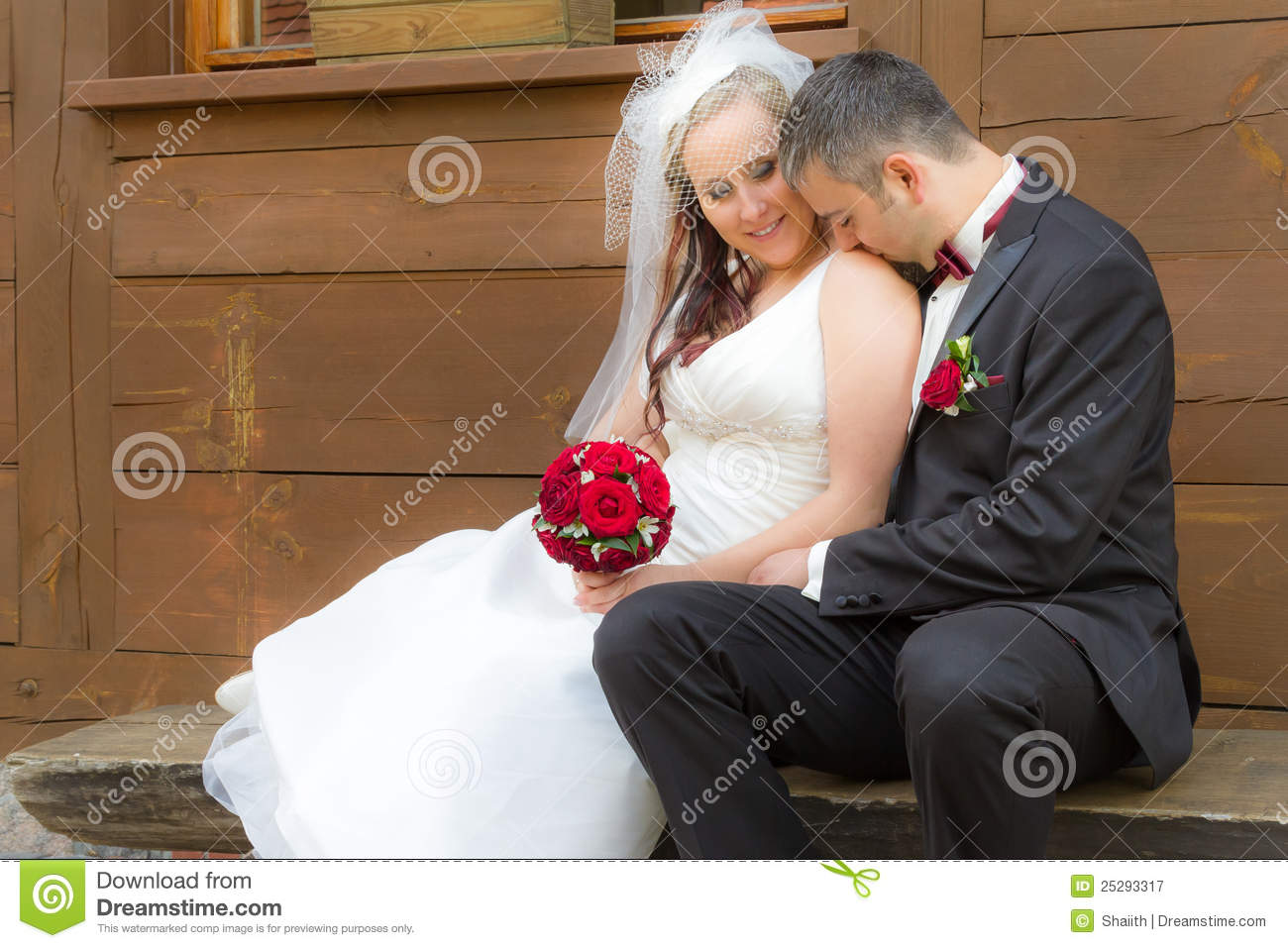 Just Married Couple In A Romantic Scene Stock Image