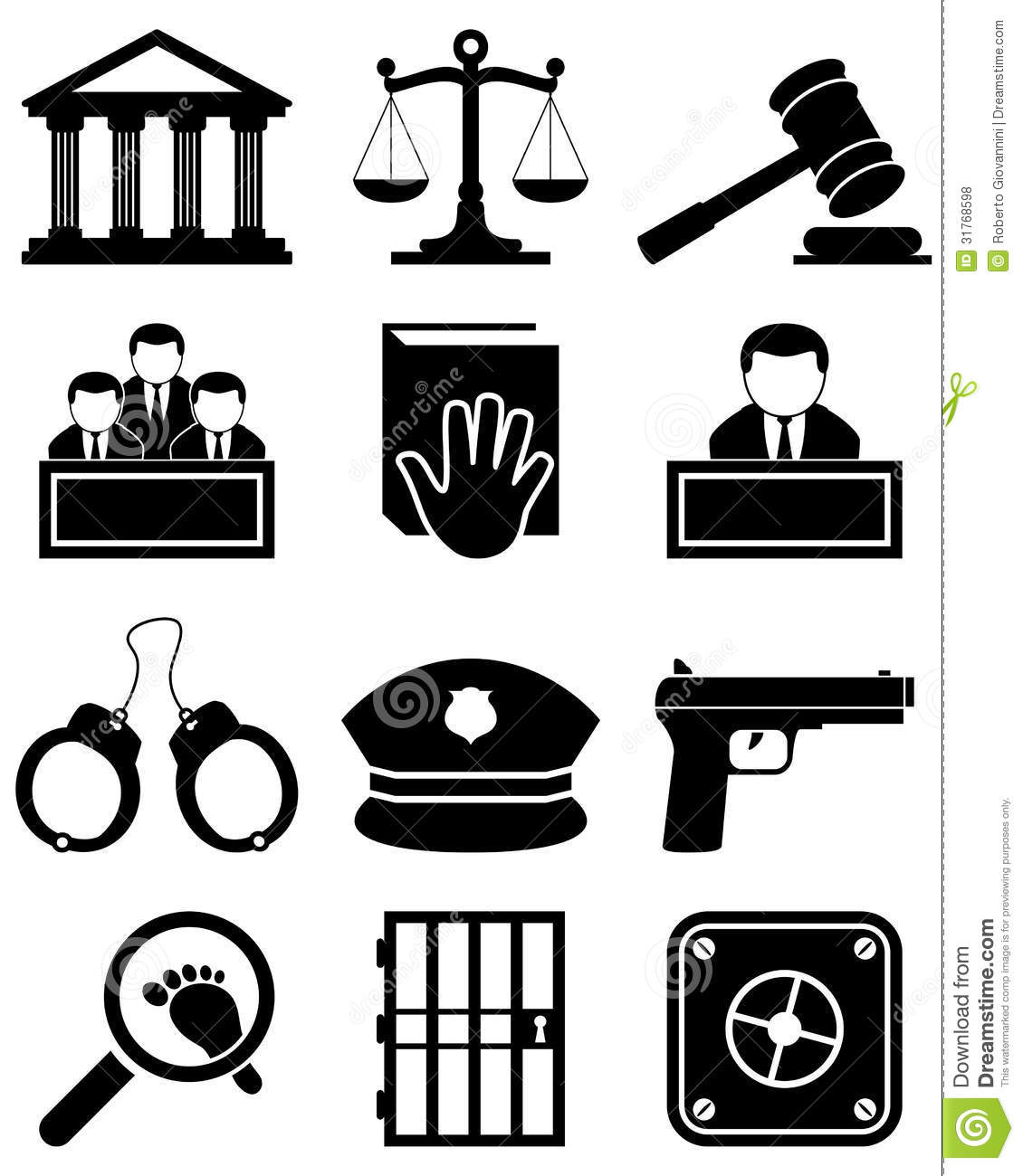 Justice Law Black Amp White Icons Stock Vector