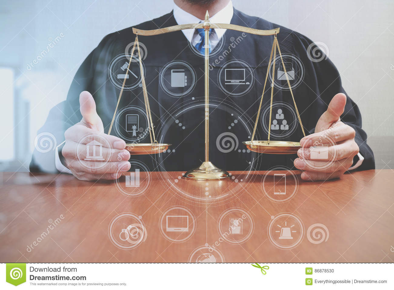 hight resolution of male judge in a courtroom with the balance scaleon wood table
