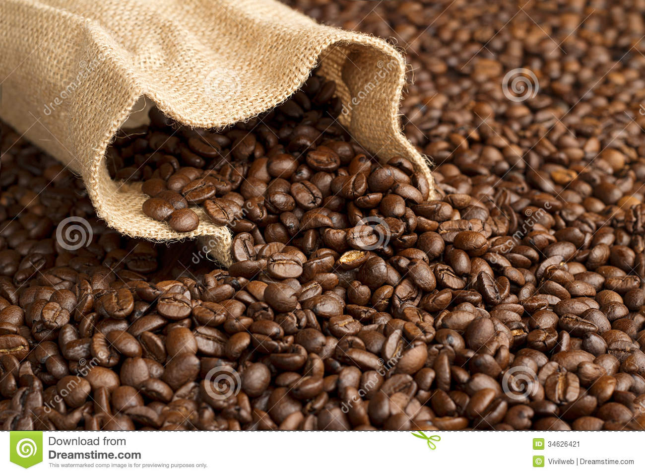 Jute bag on coffee beans stock image Image of cafe