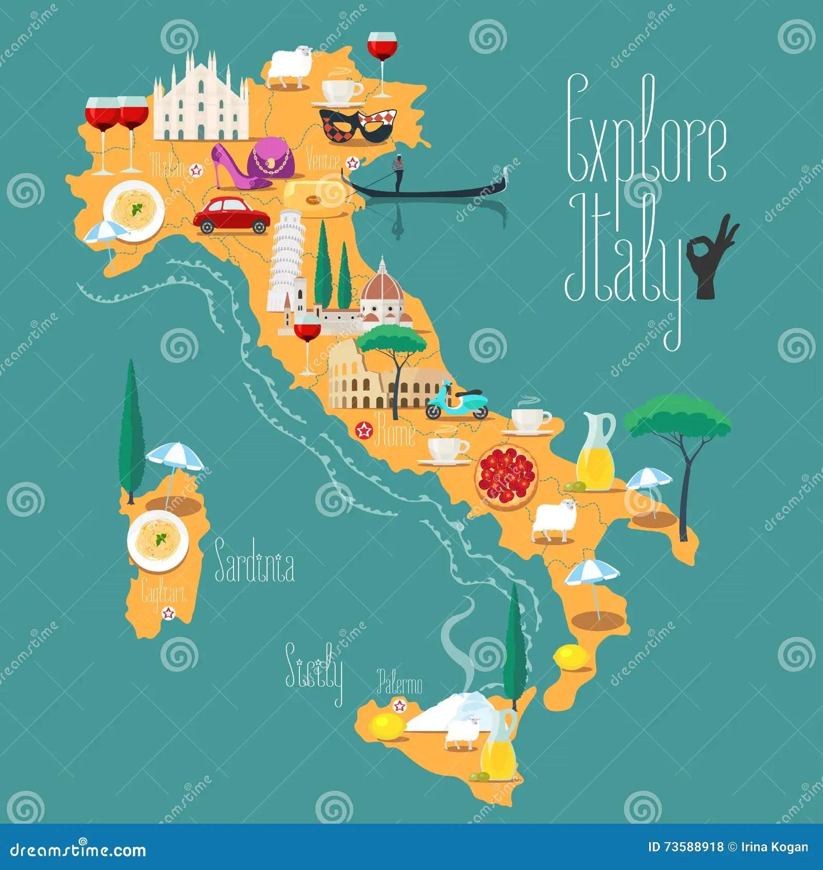 Kaart Van De Vectorillustratie Van Italie Ontwerp