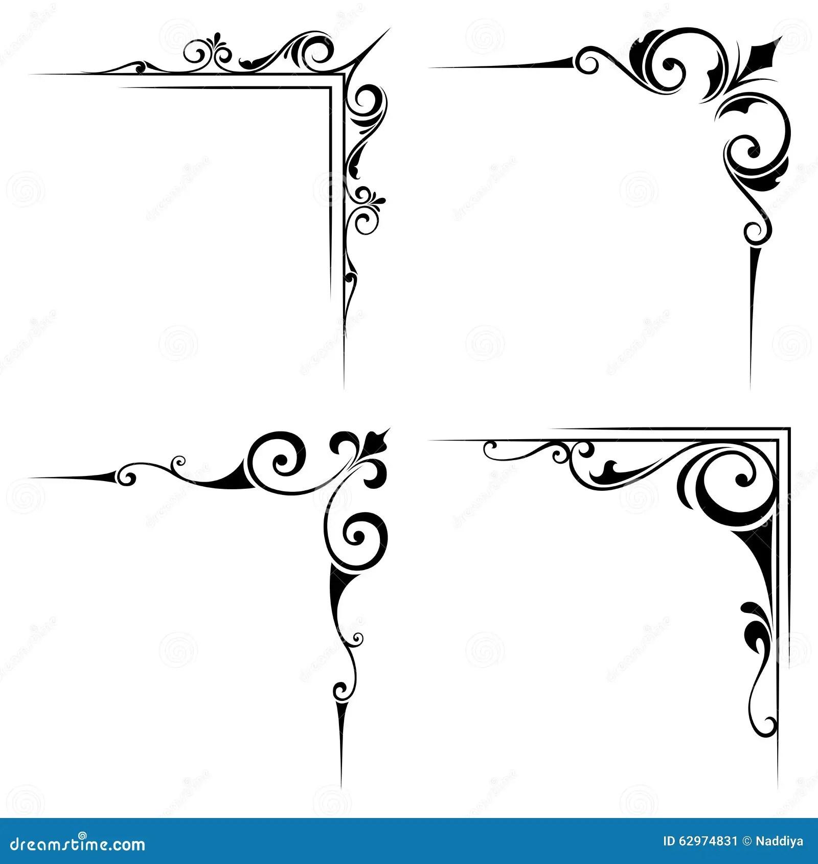 Kalligrafische Decoratieve Zwarte Hoekelementen Vector