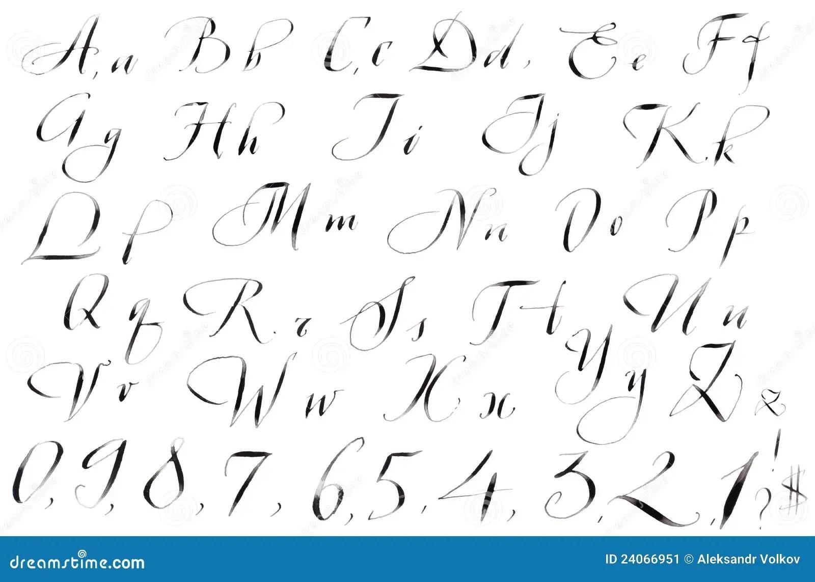 Kalligraphie-handgeschriebenes Alphabet Stock Abbildung